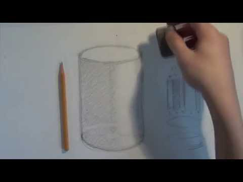 Как нарисовать цилиндр карандашом с тенью