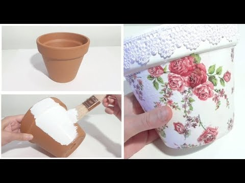 Decorare Vasi Di Terracotta.Decoupage Vaso Terracotta Planter Pot Diy