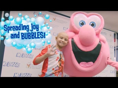 In honor of National Bubble Bath Day on January 8th, Mr. Bubble visits with the families of the Ronald McDonald House-Upper Midwest in the Twin Cities. Mr. Bubble is raising money to support the charity. Visit bubblebathday.com to learn how you can help.