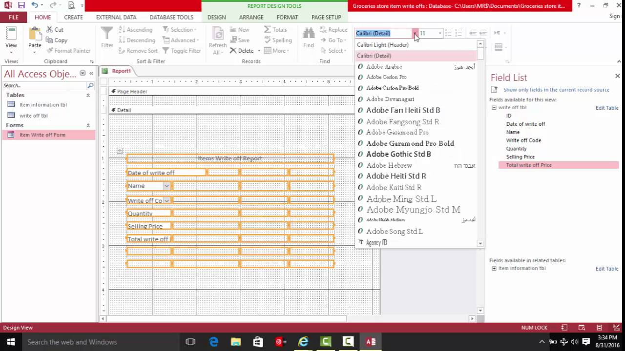 Inventory Management: Store Inventories Write Off Datatbase Part 2