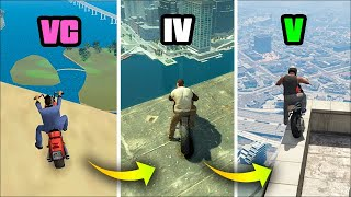 JUMPING from the HIGHEST BUILDING in MOTORCYCLE in GTA GAMES (Evolution)
