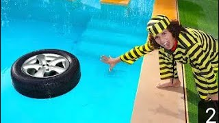 sami drops the car wheel in the pool