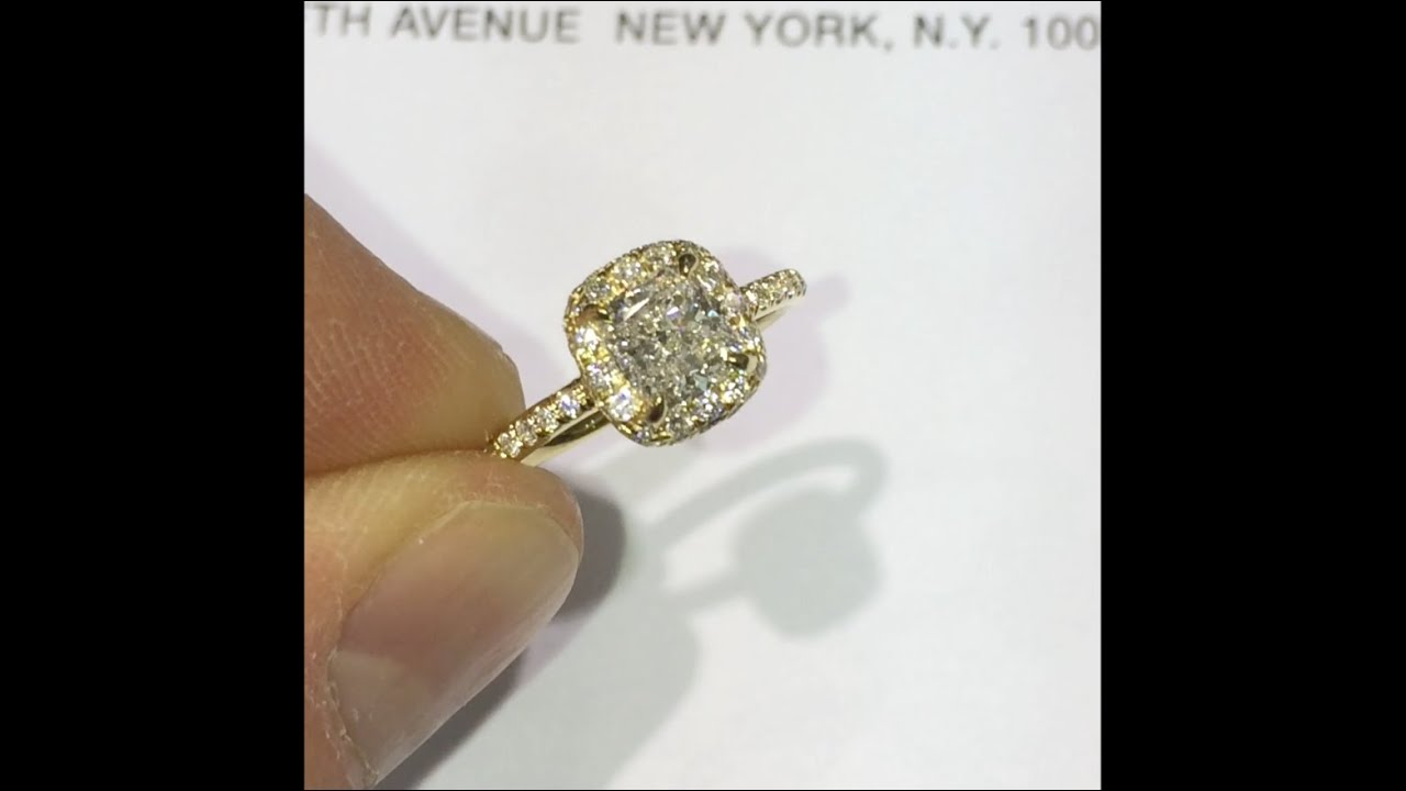160 Cttw Cushion Cut Diamond Engagement Ring In Doubleedge Yellow Gold  Halo