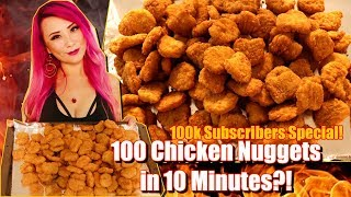 100 CHICKEN NUGGETS in 10 MINUTES CHALLENGE!! 100k Subscribers Special! #RainaisCrazy