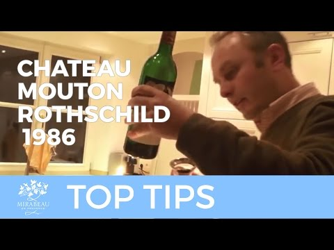 Decanting and tasting Chateau Mouton Rothschild 1986