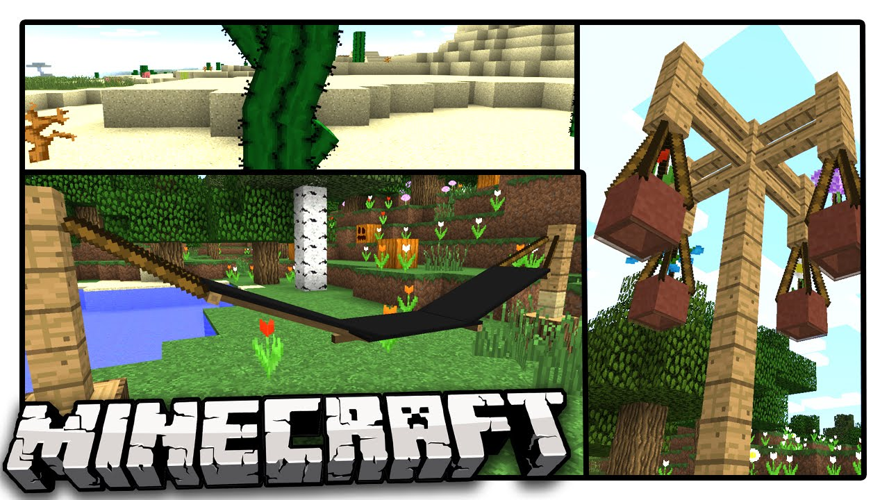 5 Minecraft Decorations You Need To Have Hammock Elevated Flower Pots More Youtube