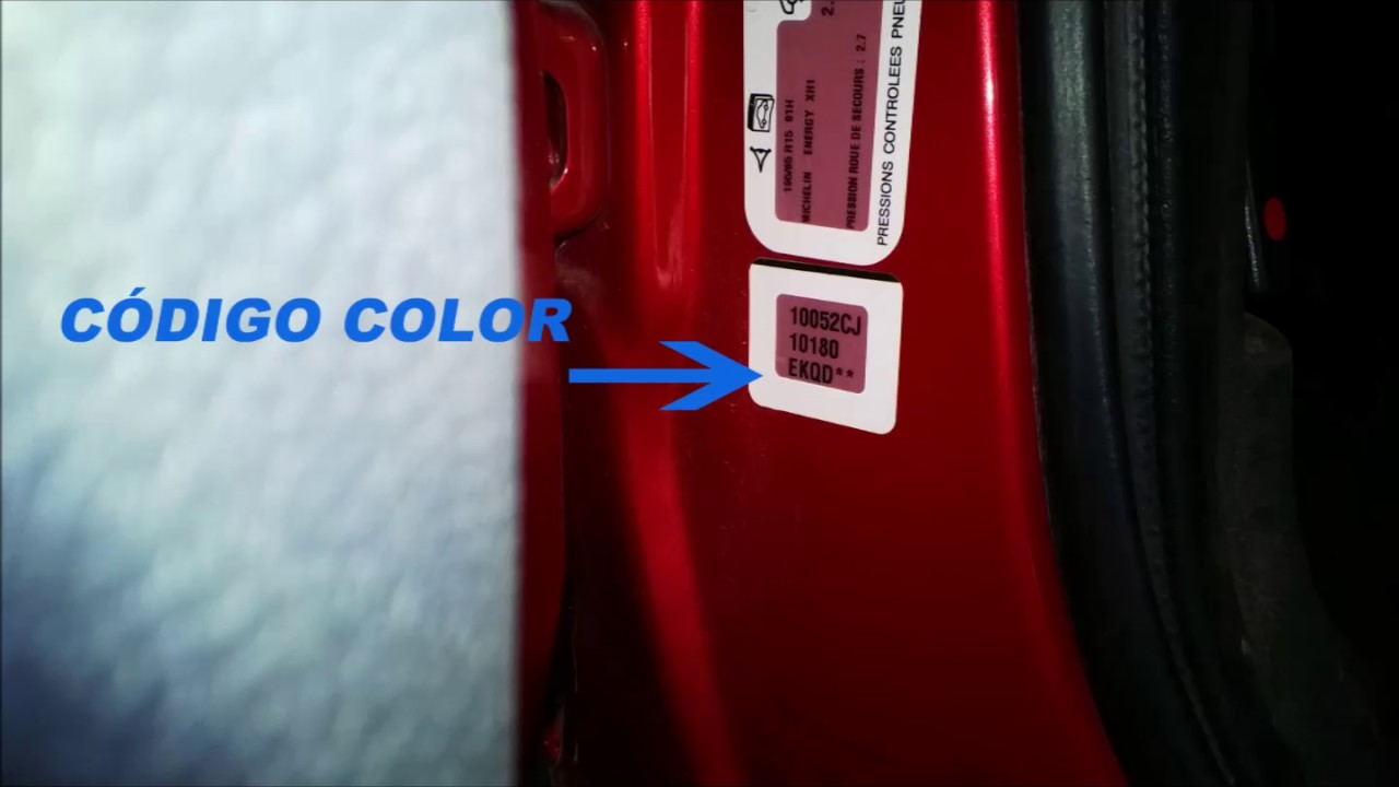 Dnde encontrar el cdigo de color de los coches marca