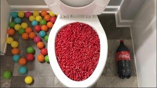 Will it Flush? - Plastic Balls, Red Cinnamon Candy, Coca Cola, Sprite