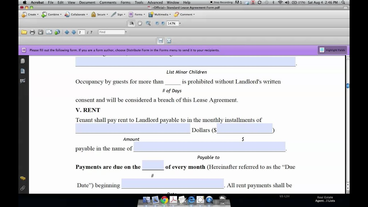 How To Fill In Standard Residential Lease Agreement Youtube