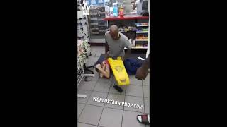 "Dude Catches A Beating At A Store & Gets Hit With A Wet Floor Sign! ""I Just Got Out Of Prison&qu"
