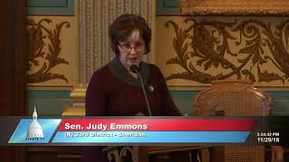 Sen. Emmons delivers farewell address