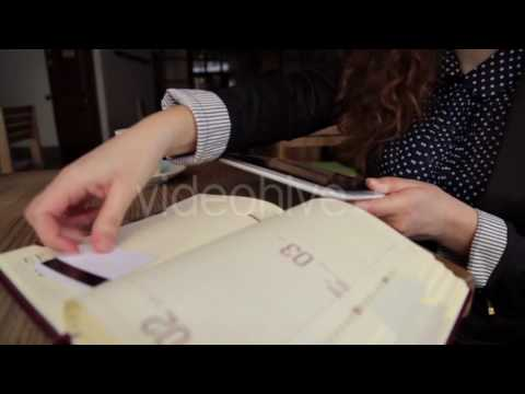 At Lunch Business Woman Doing a Financial Analysis - Stock Footage | VideoHive 15377561