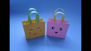 簡單漂亮迷妳手提袋,一張紙折出可愛的禮品袋,手工折紙視頻教程