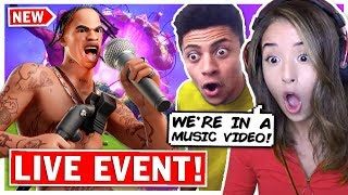 FORTNITE TRAVIS SCOTT EVENT REACTION ft. TSM Myth - Pokimane