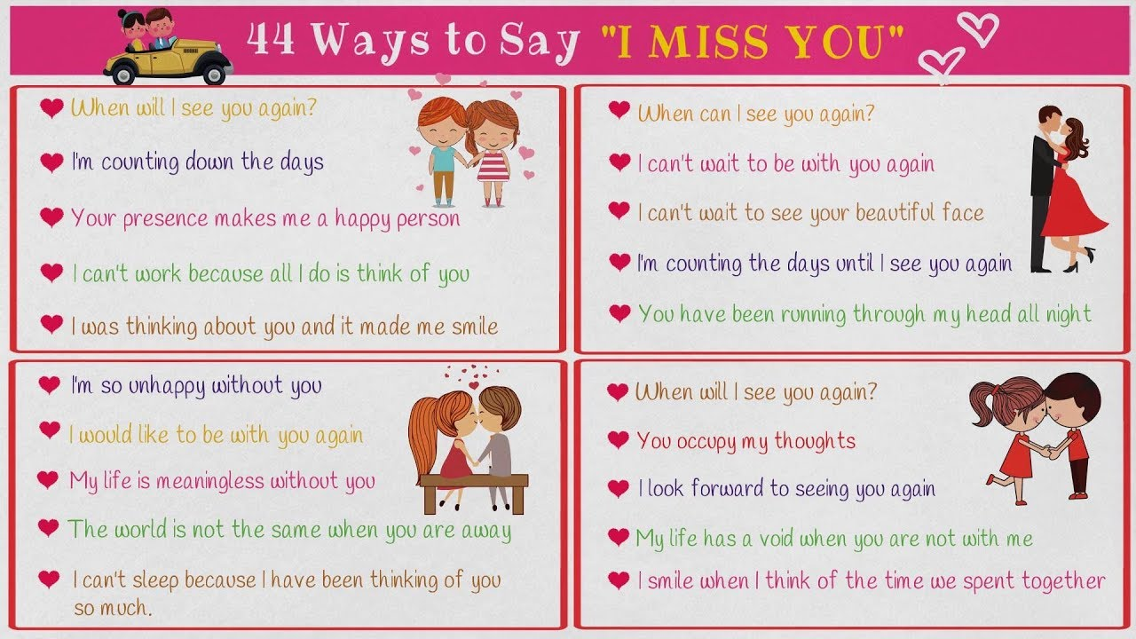 44 Cool Ways To Say I Miss You In English Learn Useful English
