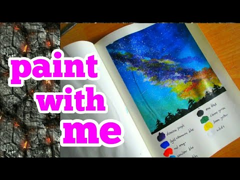 🌈Simple Galaxy Landscape Painting With Acrylics – Time-lapse🌈