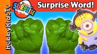TMNT Party Wagon Surprise EGG Word! FROZEN Elsa Kinder Toy, HULK, Mega Blocks Minion