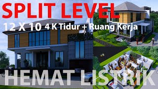 Desain Rumah Tropis Modern Split level, Arsitek Surabaya , Arsitek sidoarjo,Rumah Hemat listrik