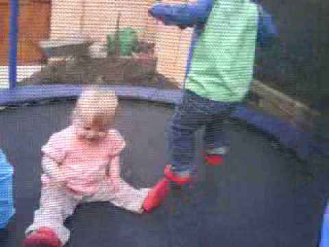 Harry Ruby and Joshua bouncing on the trampoline