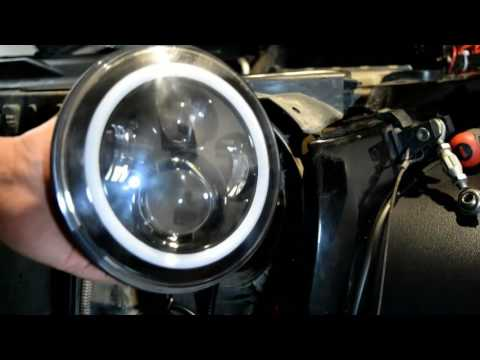 Jeep JK LED projector halo headlight  install