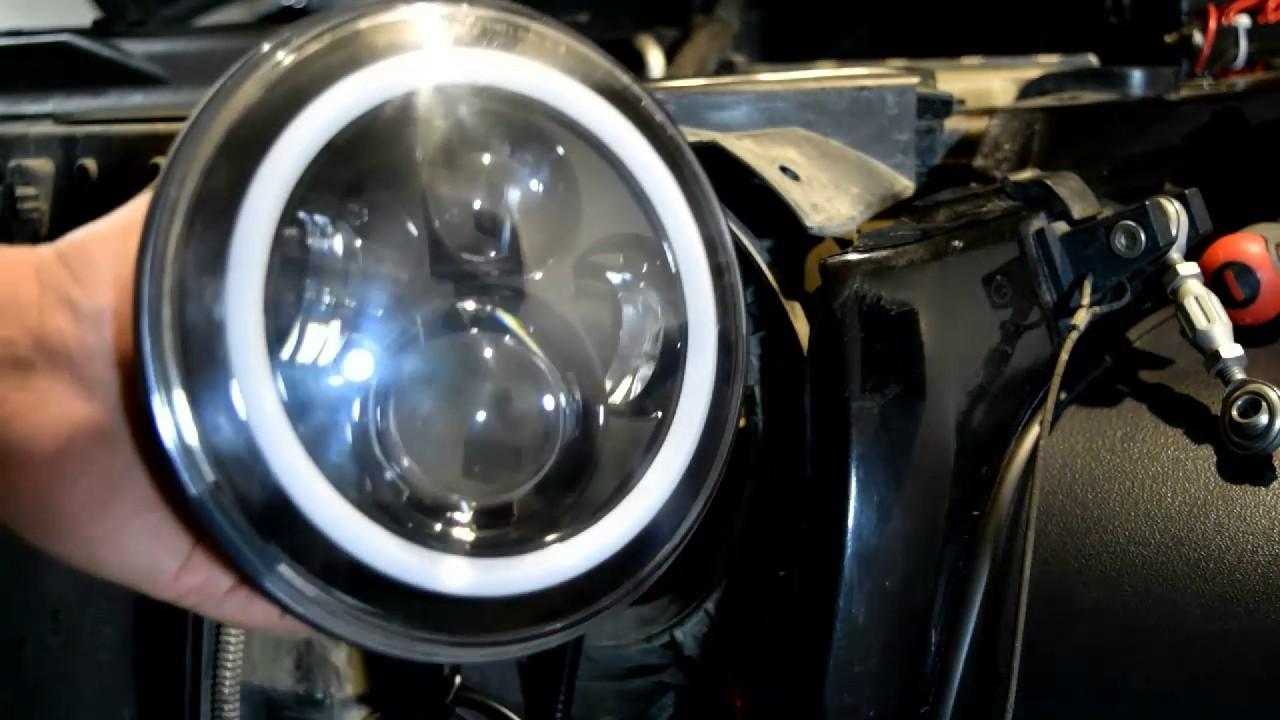 jeep jk led projector halo headlight install [ 1280 x 720 Pixel ]