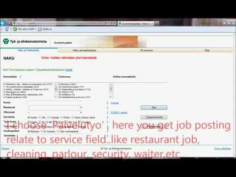 jobs in Finland:How to search job?? old version