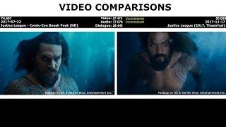 VIDEO COMPARISONS - Justice League - Comic-Con Sneak Peek [HD]