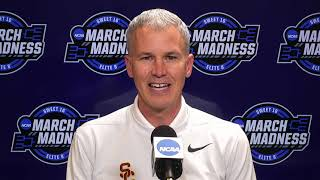USC basketball postgame with Isaiah White, Andy Enfield after Sweet 16 win over Oregon