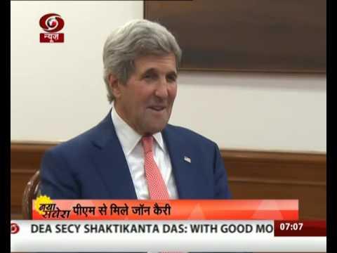 Visiting US Secretary of State John Kerry meets PM Modi