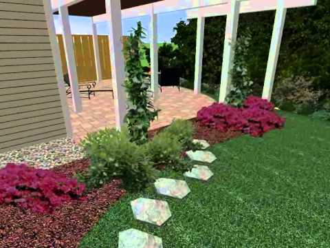 3D Design of End unit townhouse by The Landscape Design Center