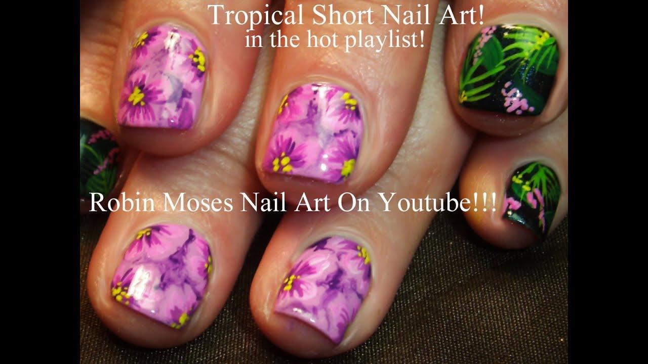 Purple Flower Nails Tutorial | Tropical Nail Art Design for short ...