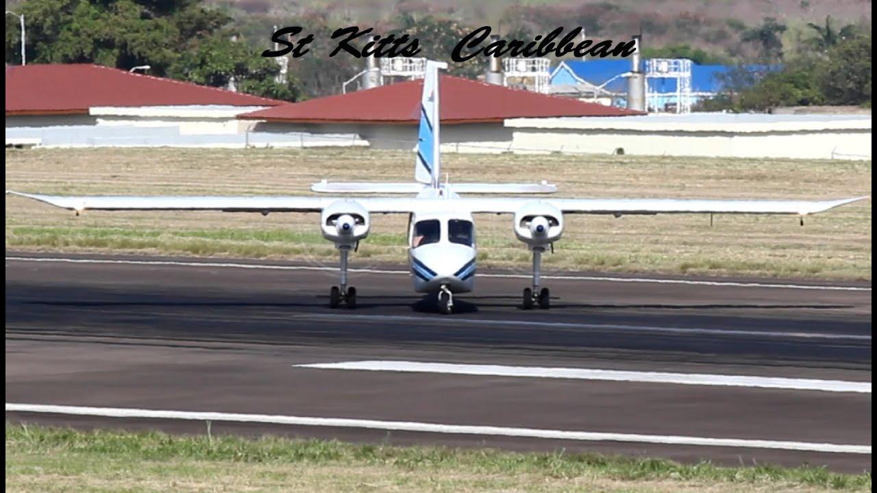 Trans Anguilla Airways BN-2 Islander action @ St Kitts (HD 1080p)