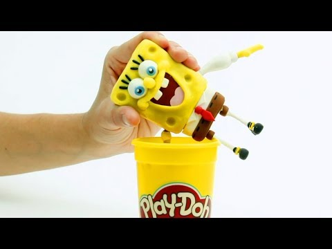 Spongebob 💕 Superhero Play Doh Stop motion videos for children