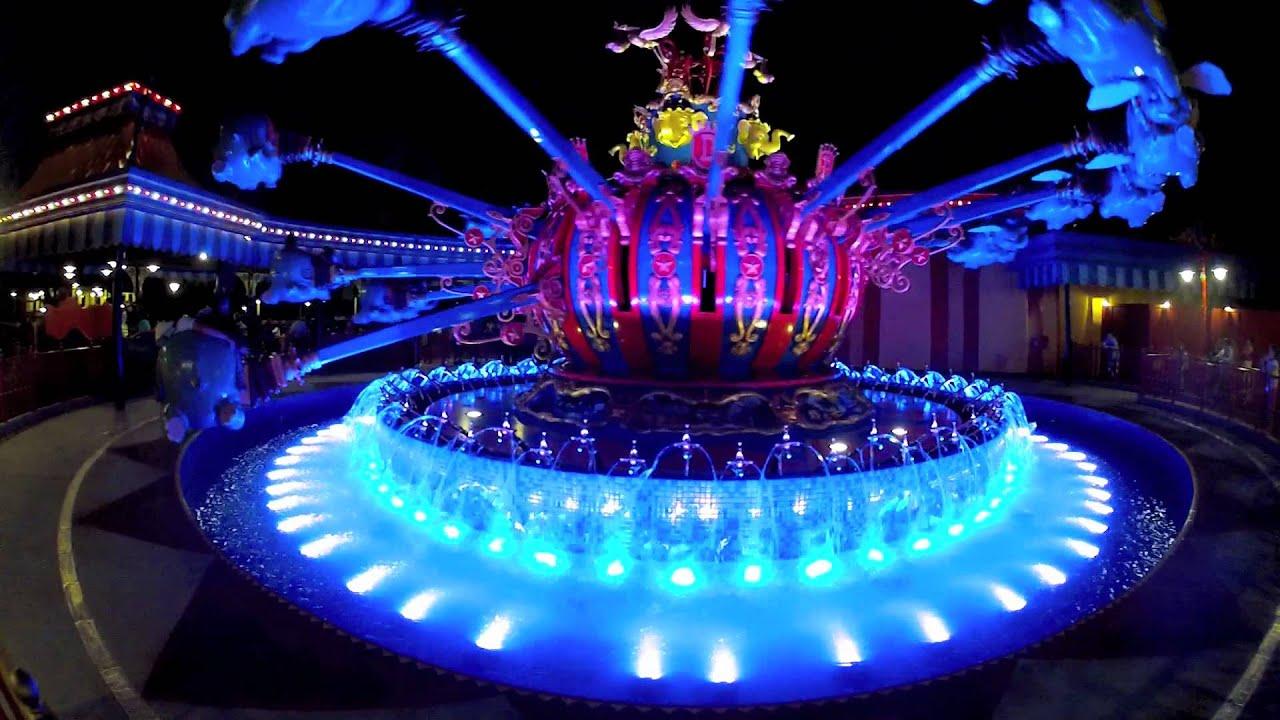 storybook dumbo fountains at night magic kingdom new