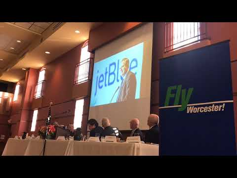Lt. Gov. Karyn Polito and JetBlue CEO Robin Hayes announce new flights from Worcester to NY