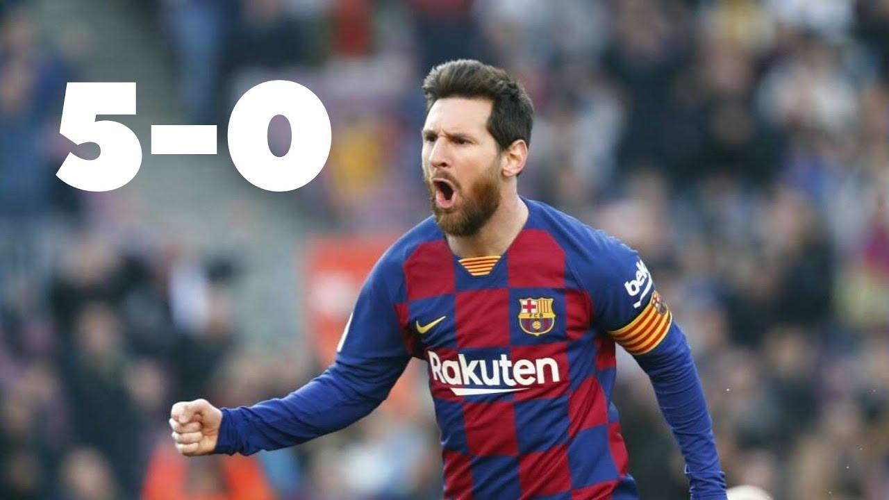 Barcelona vs Eibar 5-0   Lionel Messi Scores Four ...