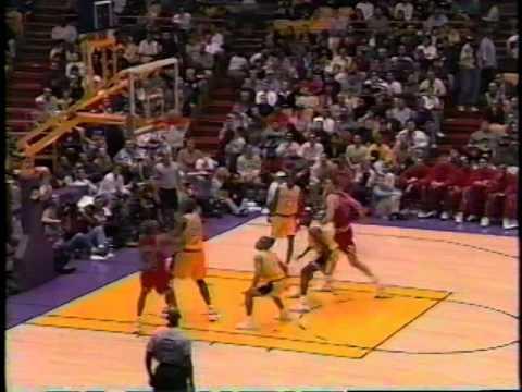 Dennis Rodman offensive rebound, beautiful pass to Luc Longley (