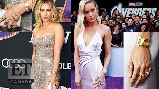 Brie Larson, Scarlett Johansson Wear Thanos Jewelry To 'Avengers' Premiere