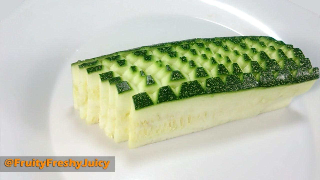 How To Cut Zucchini For Nice Design Garnish - Zucchini Cutting Technique