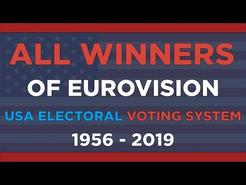All Eurovision winners according to USA Electoral Voting System (1956-2019)