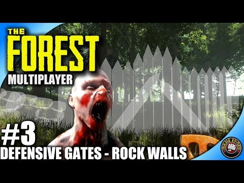 The Forest Let's Play - EP3 - Defensive Gates and Rock Walls - Multiplayer Kage848 (S3)