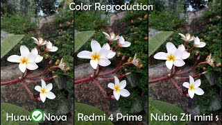 Huawei Nova vs Redmi 4 Prime vs Nubia Z11 Mini S - Camera Comparison(Huawei Nova vs Redmi 4 Prime vs Nubia Z11 Mini S - Camera Comparison Marry Christmas everyone! -Timeline- Color reproduction: 0:01 Sharpness: 0:46 ..., 2016-12-24T13:21:23.000Z)
