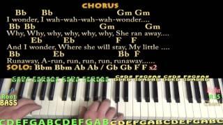 Runaway (Del Shannon) Piano Lesson Chord Chart in Bbm with Chords/Lyrics - Arpeggios