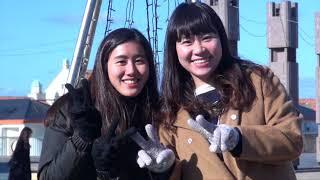 RKB毎日放送で研修中の台湾人女性2人がリポートに初挑戦。 2018年2月...