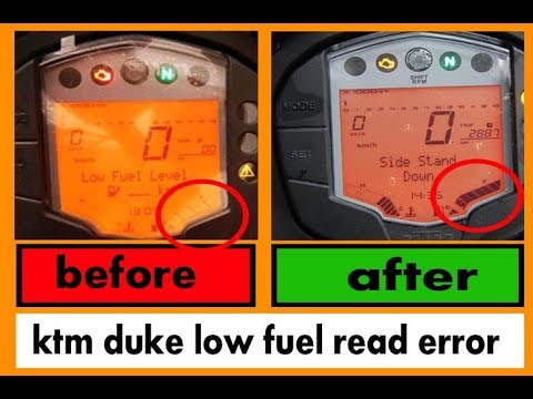 ktm duke 125 low fuel display error fix