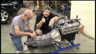 Episode 21 Part 4 Engine install with five speed in a Mustang Autorestomod