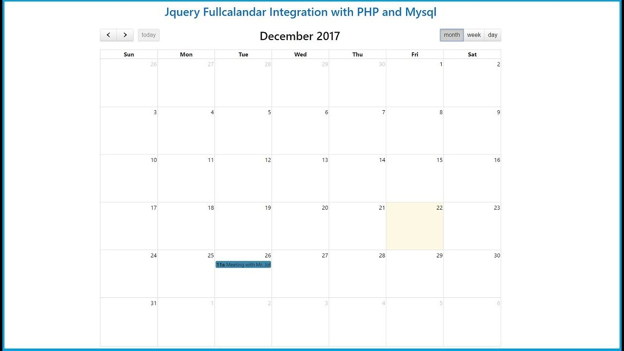 Jquery Fullcalandar Integration with PHP and Mysql