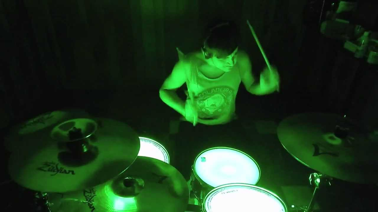 Martyrs - The Devil Wears Prada - Zach Ziomek (DRUM COVER) HD (w/ green LED drums)