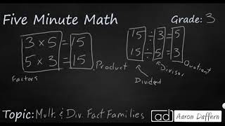 3rd Grade Math Multiplication and Division Fact Families