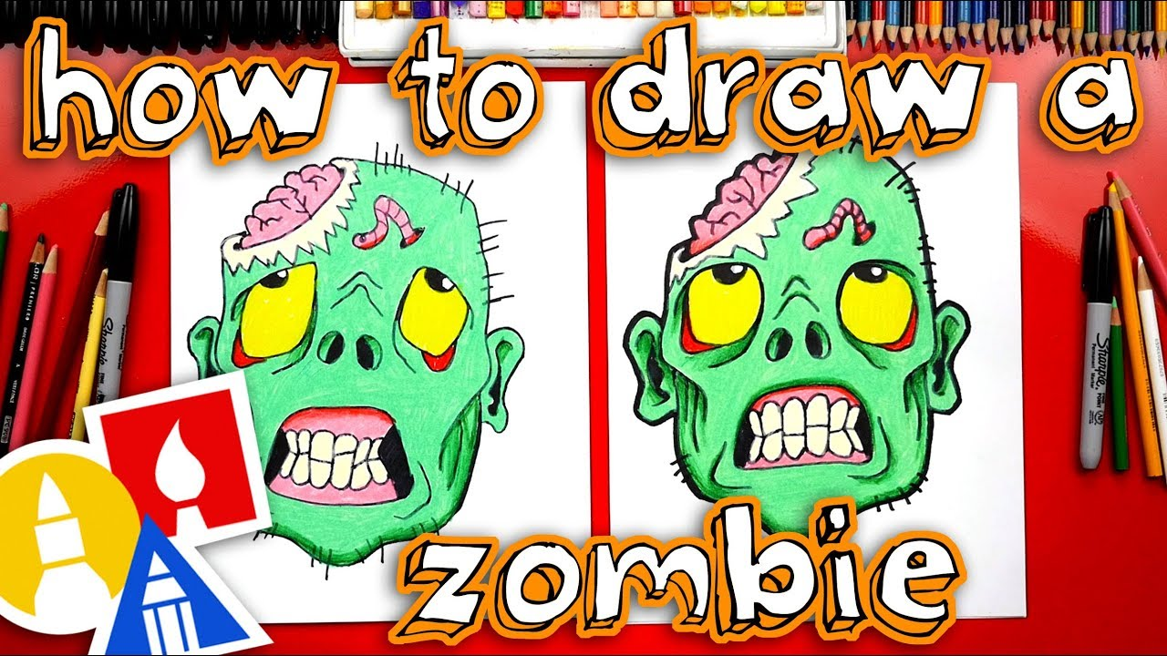 How To Draw Zombie Head For Halloween Youtube